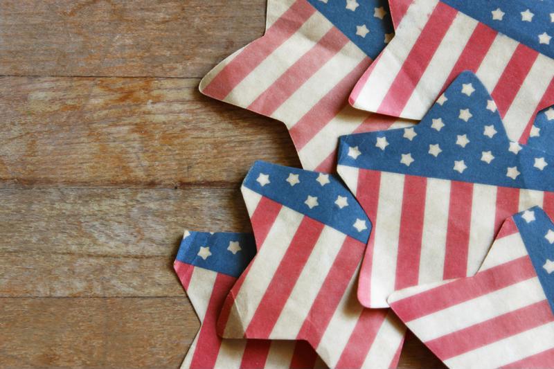 Flag stars on wood table.
