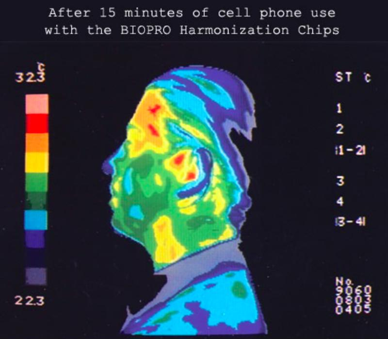 Thermal imaging displayed the impact on the body with a chip on the phone vs. the phone without the chip.