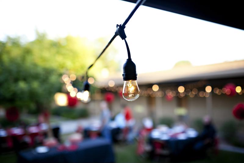 Outdoor bistro lighting.