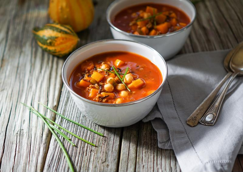 Warm up on a cool fall evening with this pumpkin chicken chili.