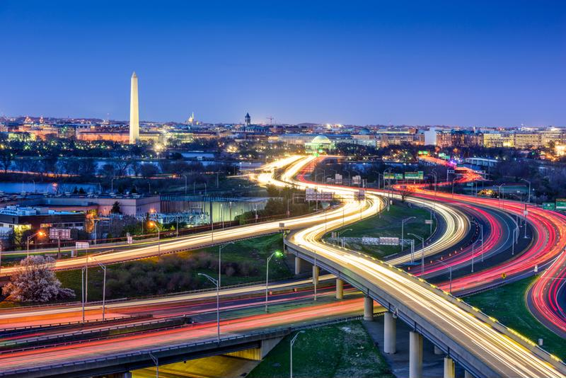 Overhead view of highways cutting through Washington D.C.