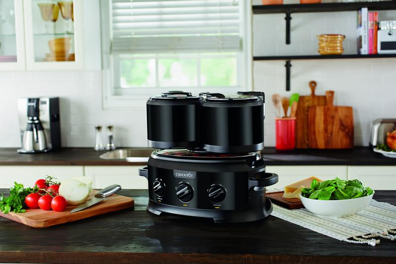 Easily slow cook three dishes all at once and seamlessly serve guests with this all-new slow cooker.