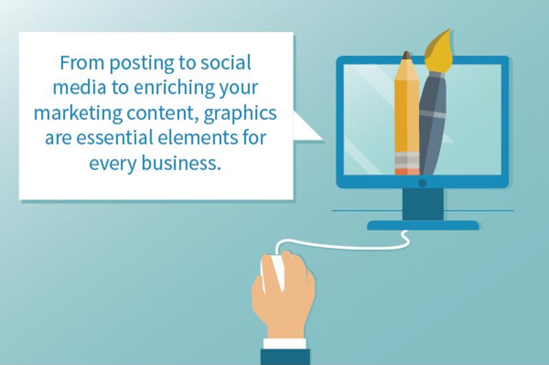 "Illustration of hand using computer mouse and a monitor with a pencil on it, with text: ""From posting to social media to enriching your marketing content, graphics are essential elements for every business."""