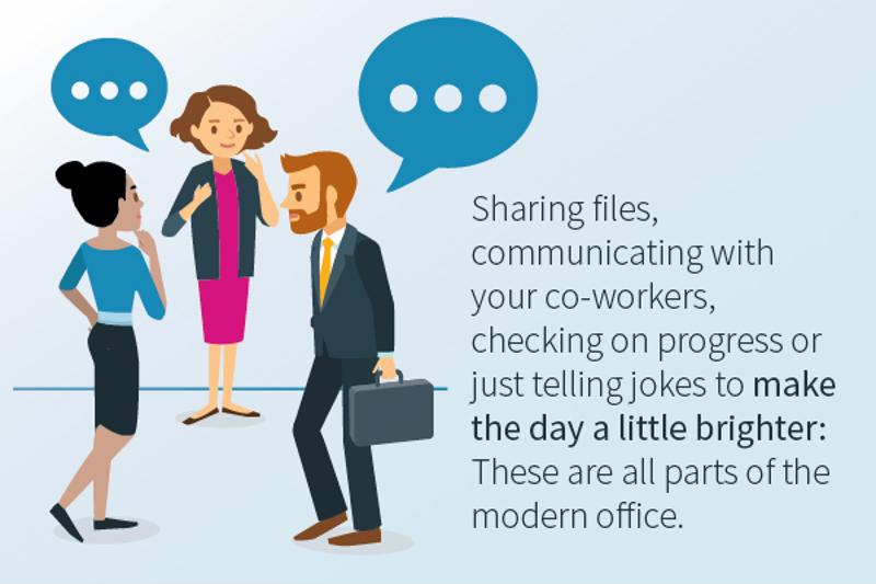 "Illustration of co-workers talking with text: ""Sharing files, communicating with your co-workers, checking on progress or just telling jokes: These are all parts of the modern office."""
