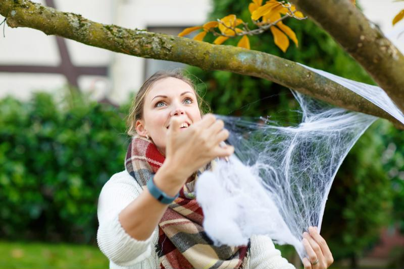 Woman decorating home with spider web.