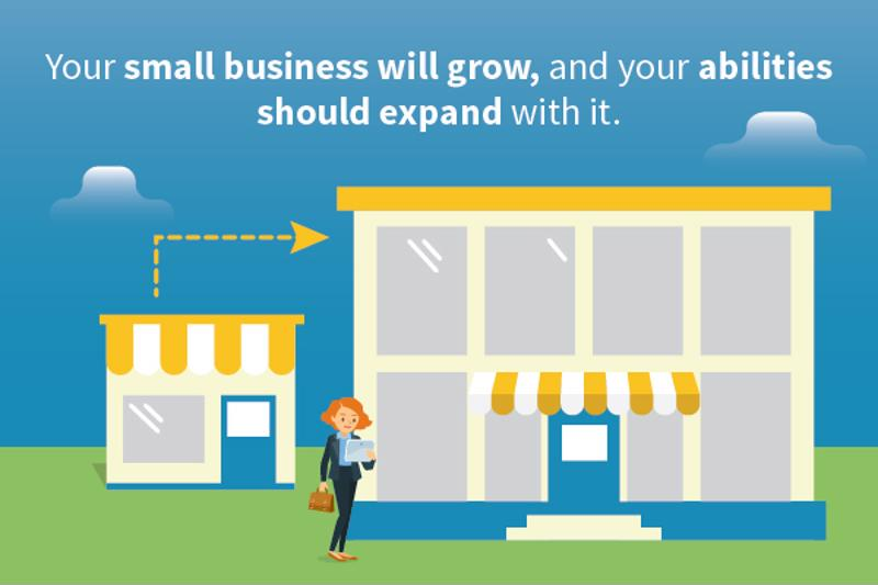 "Illustration of a woman in front of a shop with text: ""Your small business will grow, and your abilities should expand with it."""