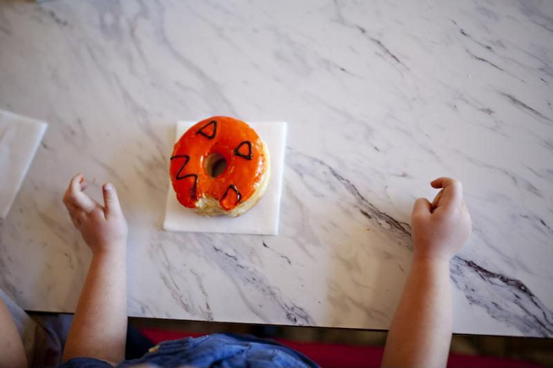 Halloween donut on napkin.