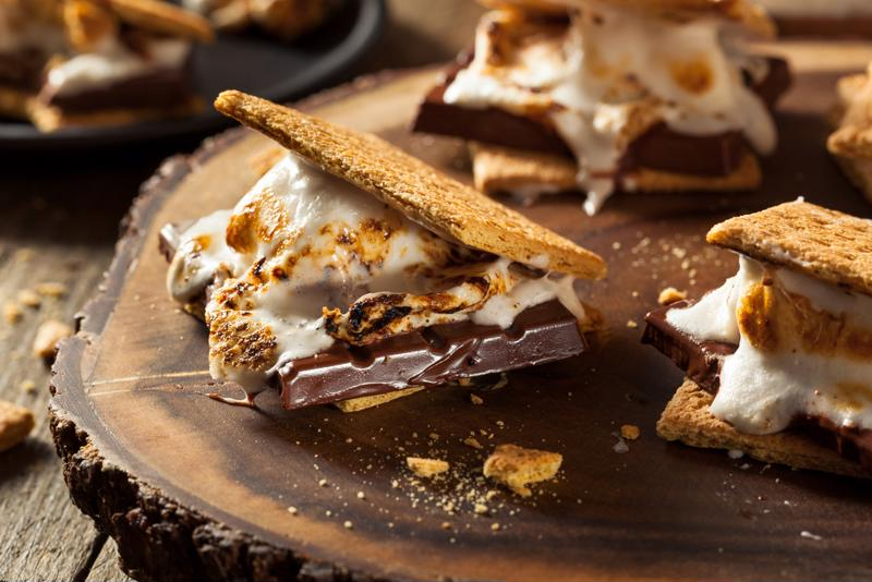 Homemade gooey marshmallow s'mores.
