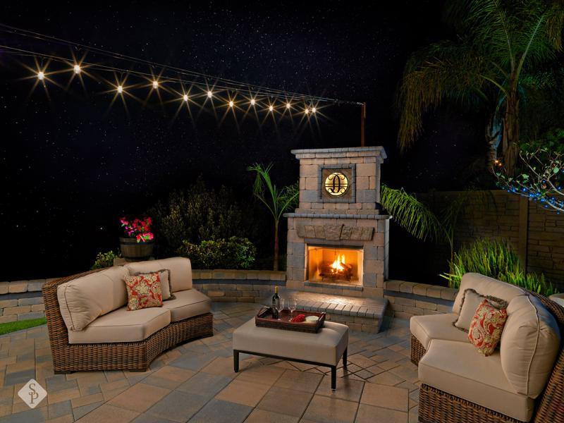 outdoor fireplace, fireplace, System Pavers, romantic backyard