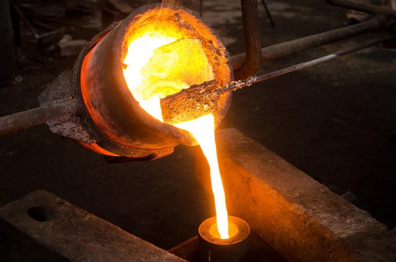 A metal casting plant.
