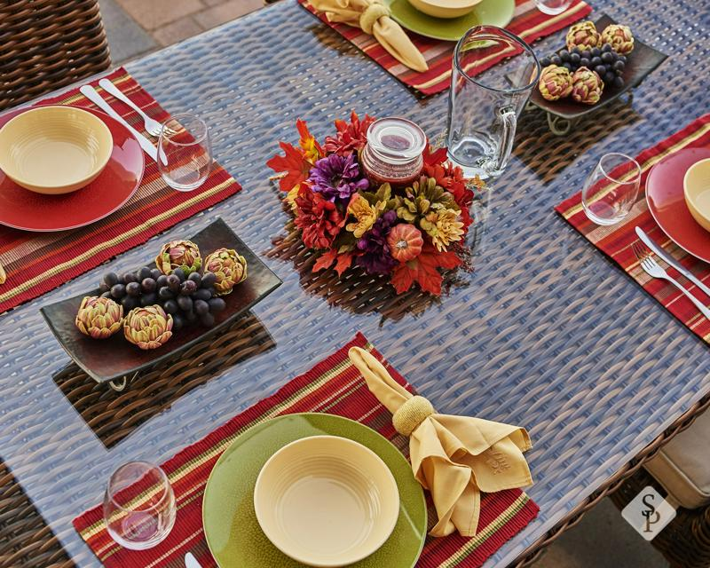 table setting, custom patio, outdoor Thanksgiving