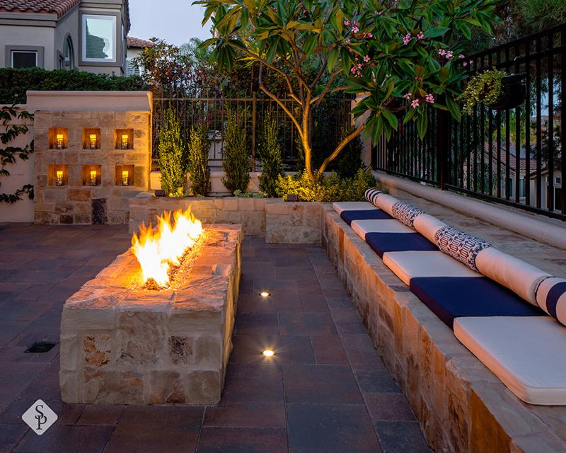 date night, ambiance, ambient lighting, fire pit, fire place, System Pavers, custom patio