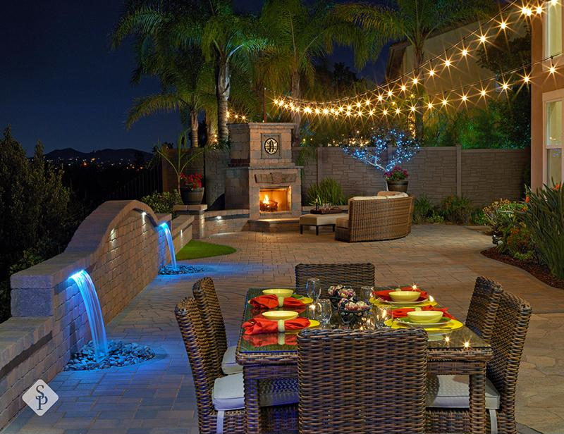 view, patio, custom patio, pavers, System Pavers, fire pit, fire place, water feature