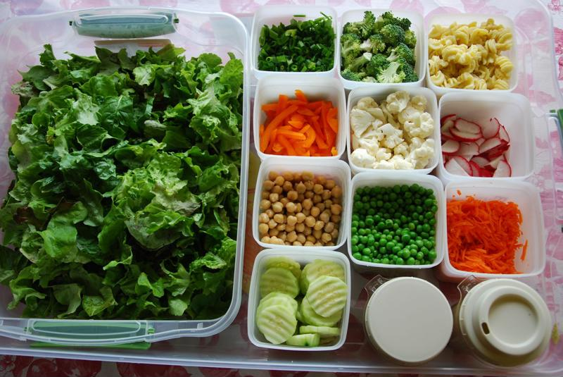 Cheri's salad box is always stocked.