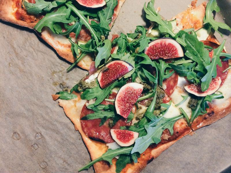 A thin crust pizza with plenty of vegetables and fruits on top can turn this guilty-pleasure food into a fairly nutritious dinner.