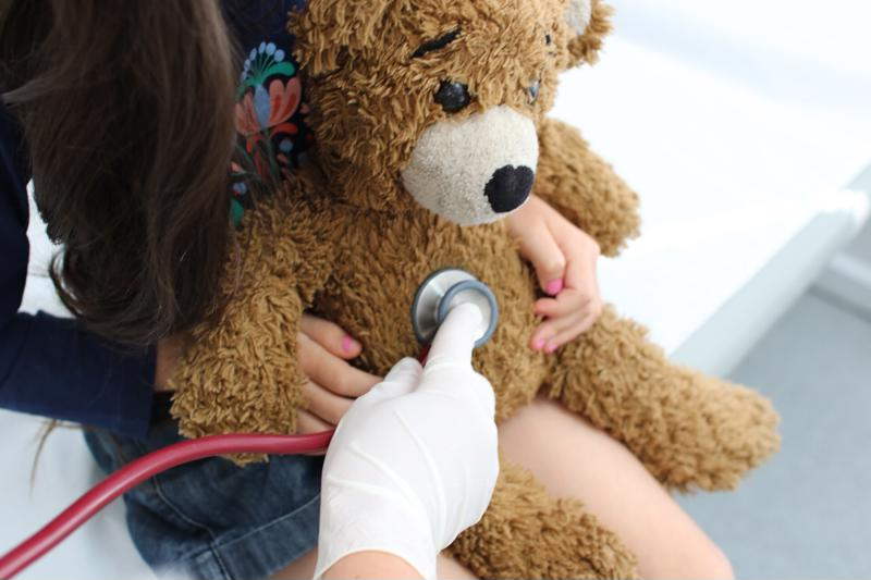 Toys can help pediatric patients feel more comfortable during an examination.