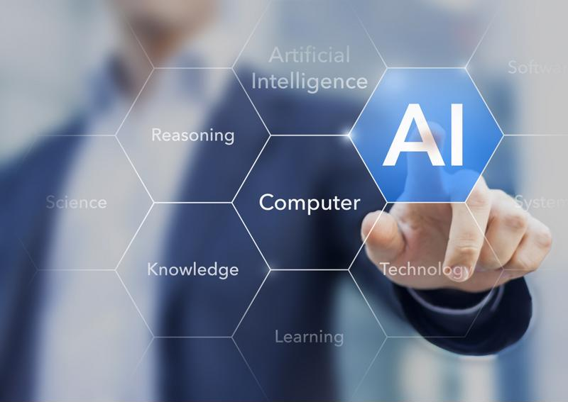 "Man in a suit pointing to AI icon, among other icons like ""Reasoning,"" ""Computer,"" ""Knowledge,"" etc."