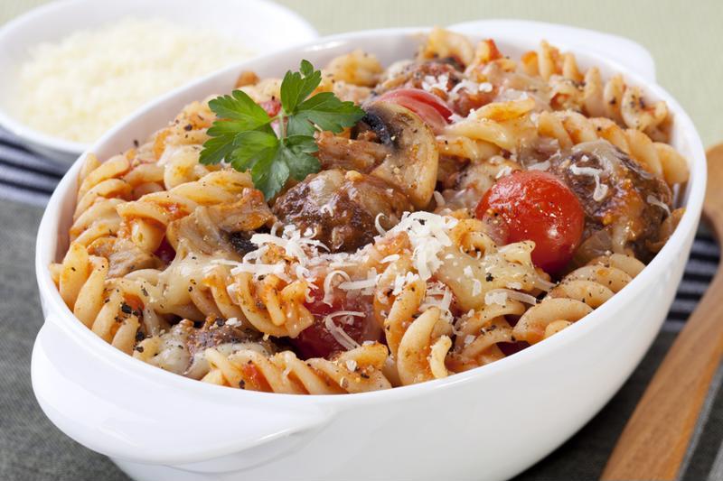 sausageball pasta bake