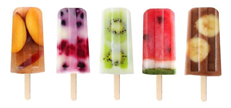 Homemade fruit ice pops