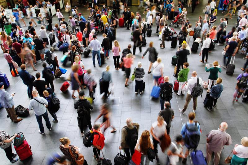 a crowd of people at a convention