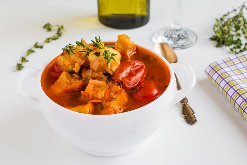 sea bream and tomato broth