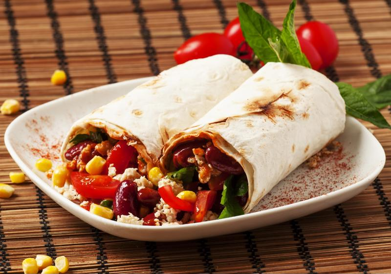 Vegetarian burritos, perfect for Monday night dinner.