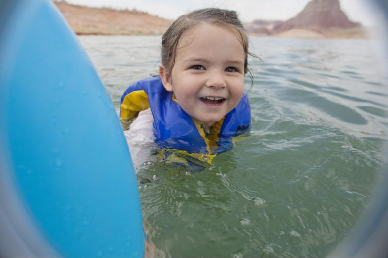 Select a life jacket with a bright pop of color - like yellow - so that rescuers could easily spot your child in an emergency.