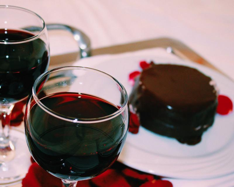 Sip a red wine with your favorite chocolate dessert.