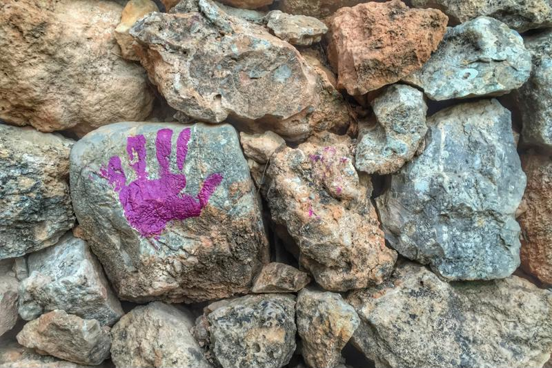 Your baby's handprint on a rock makes a nice garden keepsake.