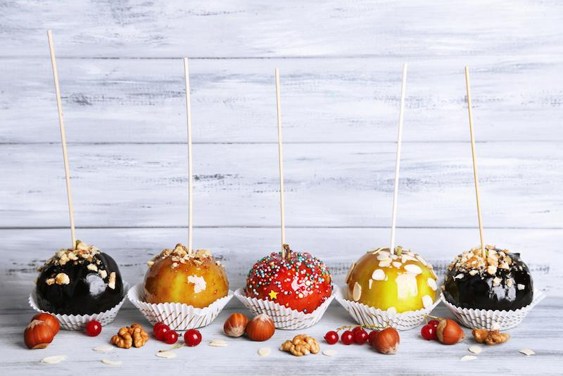 Candy apples are a traditional fall snack.