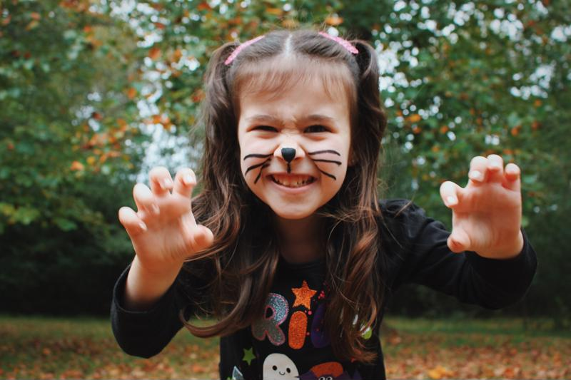 Little girl dressed with cat makeup on for Halloween
