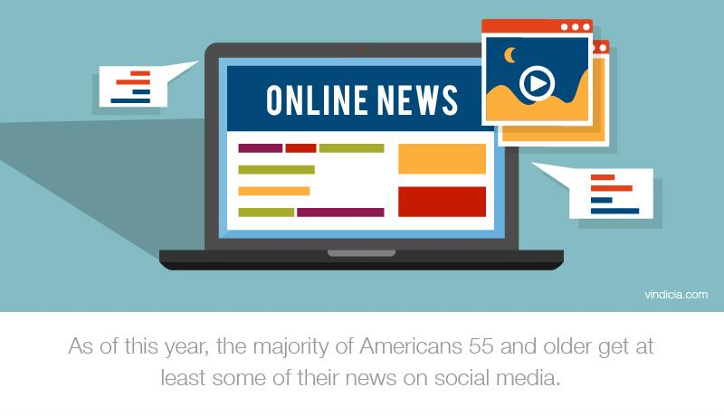 "An illustration of a laptop with the words ""Online News"" on the screen. Text reads, ""As of this year, the majority of Americans 55 and older get at least some of their news on social media."""