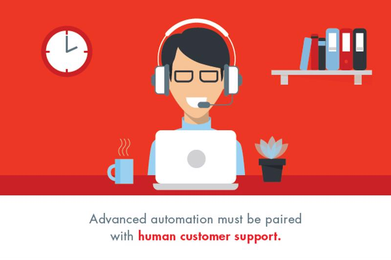 Custom illustration of customer service person sitting at desk with headset on.