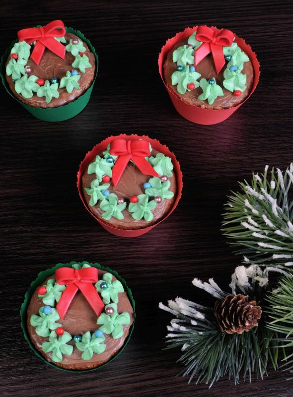 Decorate cupcakes for the holidays.