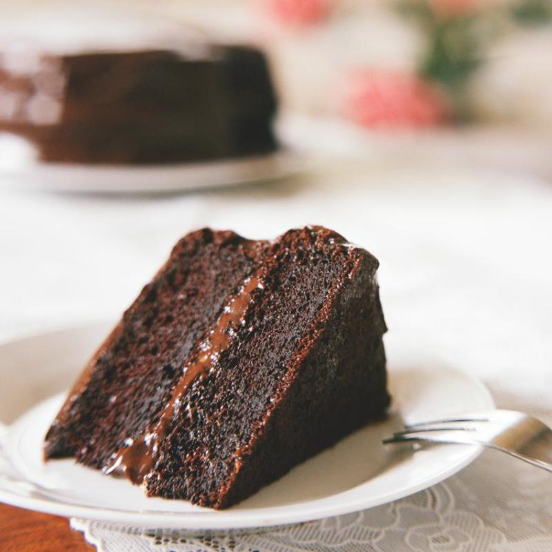 Rich chocolate cake.