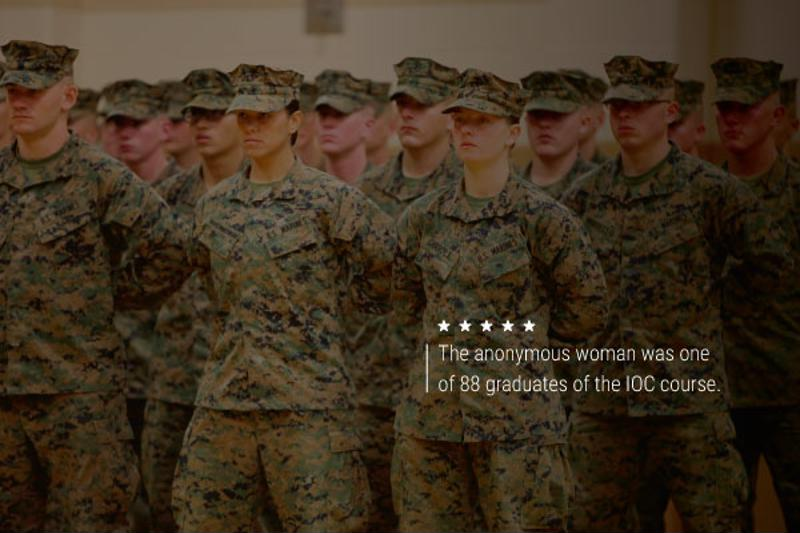 """An image of female servicemembers. Text reads, """"The anonymous woman was one of 88 graduates of the IOC course."""""""