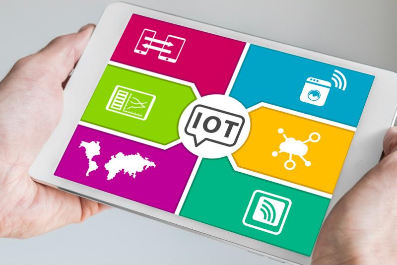 "A tablet with an ""IoT"" display."