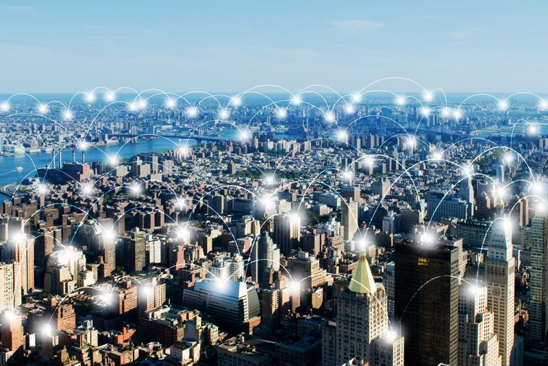 Modern city connected by IoT technologies