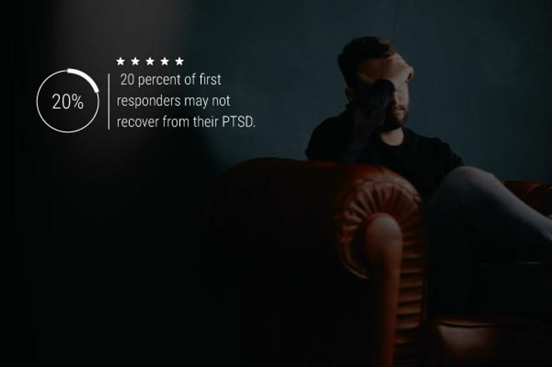 """An image of a suffering man sitting in an armchair. Text reads """"20 percent of first responders may not recover from their PTSD."""""""