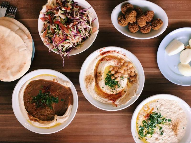 Array of Israeli foods.
