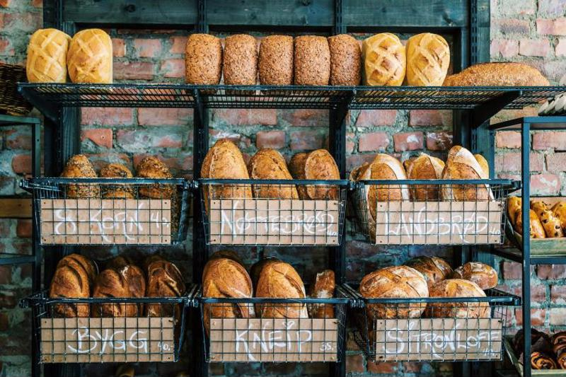 Breads on display at bakery