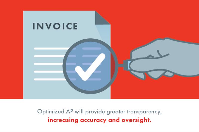 Magnifying glass over invoice document with check mark in viewing circle.