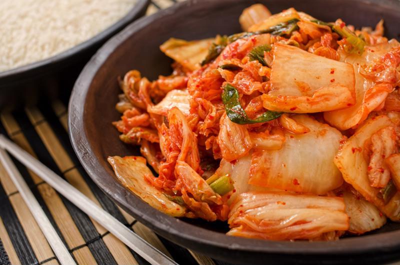 Korean kimchi in a pan.