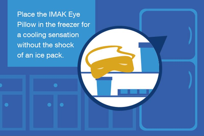 Illustration of placing an IMAK Eye Pillow in the freezer.
