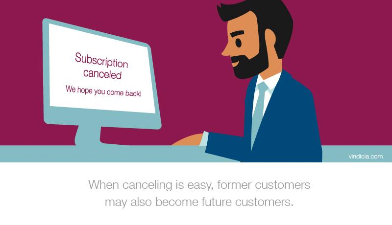 A custom illustration of a smiling man canceling his subscription on a computer.