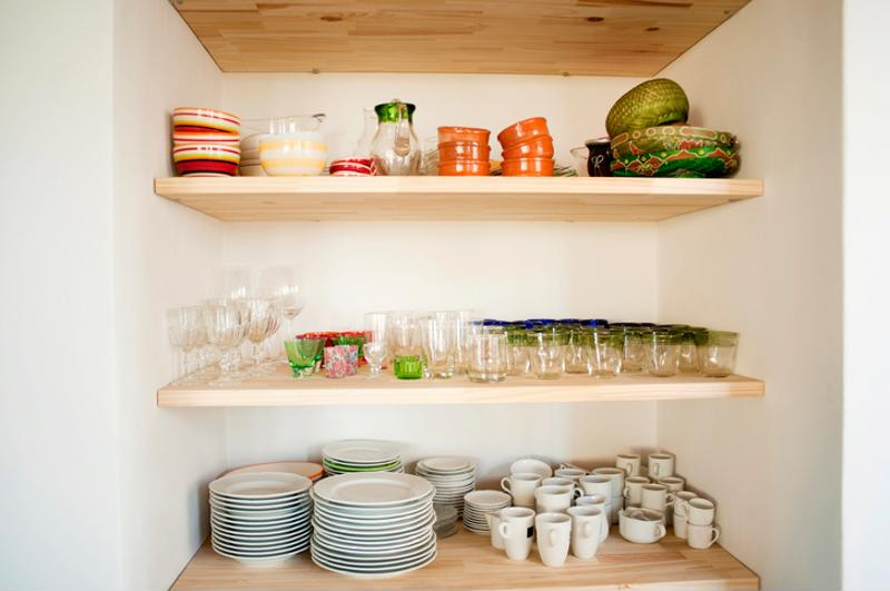 Various dishes on shelves