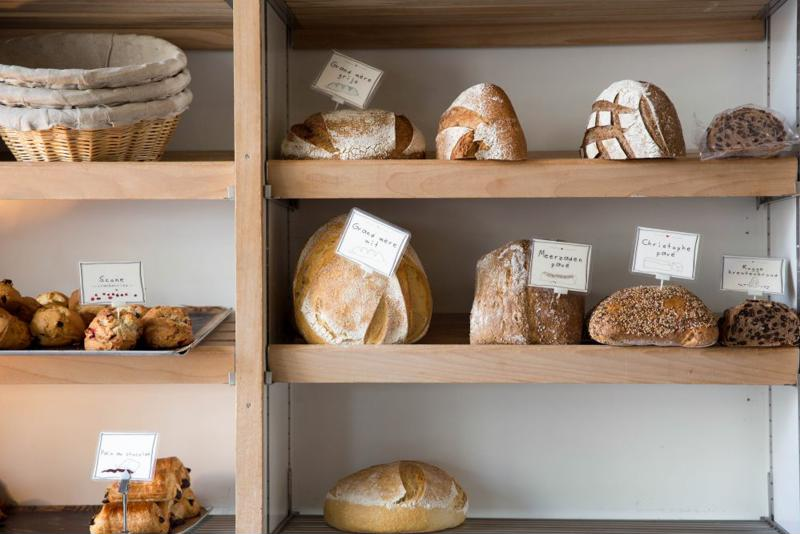 Bread on a shelf.
