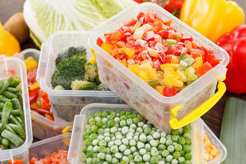 Containers filled with various vegetables