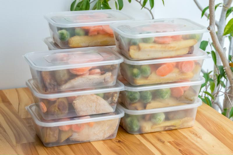 Vegetables in stacked containers