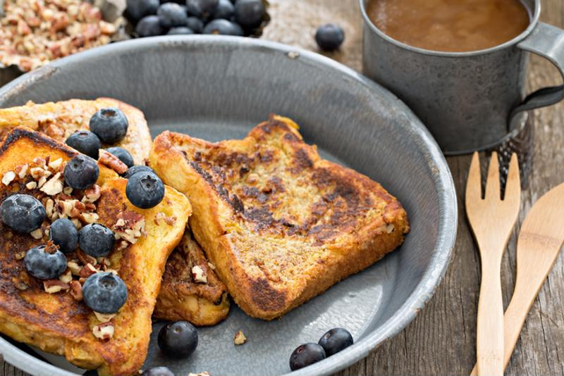 French toast and blueberries on a pan